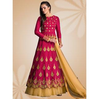 Thankar Pink  Cream Embroidered Banglori Silk Anarkali Suit