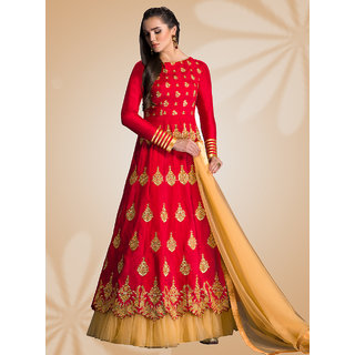 Thankar Red  Cream Embroidered Banglori Silk Anarkali Suit