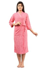 Imported Cotton Bathrobe (Pink) - Full