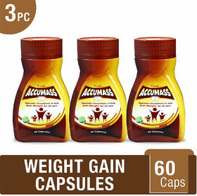 Accumass Ayurvedic Capsules 60Caps For Weight Gain (Pack of 3)