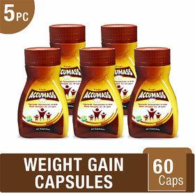 Accumass Ayurvedic Capsules 60Caps For Weight Gain (Pack of 5)