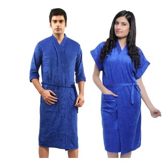 Imported Cotton Bathrobe Combo (Pack of 2)- Royal Blue