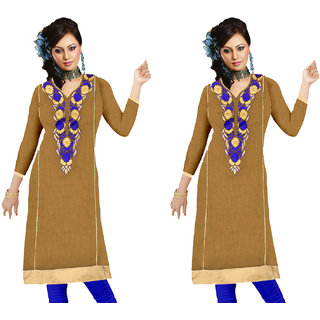 Nilkanth Enterprise Latest Khaki Color Cotton Stitched Straight Combo Kurtis
