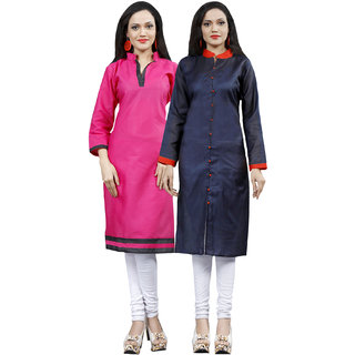 Sareemall Combo of 2 Stitched indo Cotton Kurtis ( Pink  Blue )