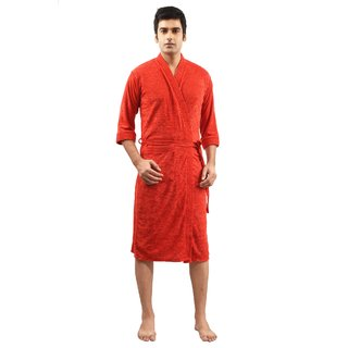 Imported Cotton Bathrobe (Red)- Full