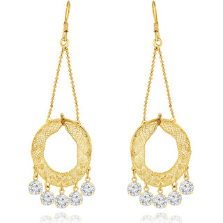Spargz Crystal Stone Hook Earrings With Gold Plating for Women AIER 616