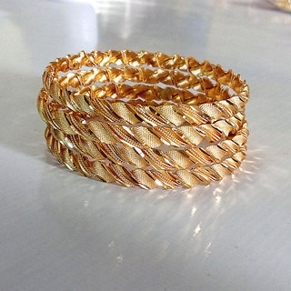 Rabbi Gold Plated 4 Pcs Braided Chandni Bangles Size 2.6