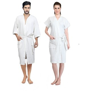 Imported Cotton Bathrobes Combo (Pack of 2)- White