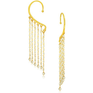 Spargz Stylish Gold Tassel With White Pearl Ear Cuff For Women AIER 619