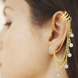 Spargz Party Wear Golden AD Stone Tassels Ear Cuff For Style Single Ear AIER 620
