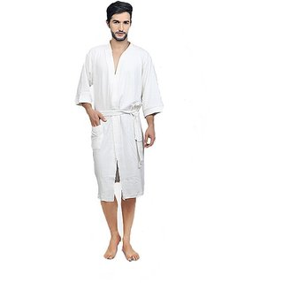 Imported Cotton Bathrobe (White)- Full