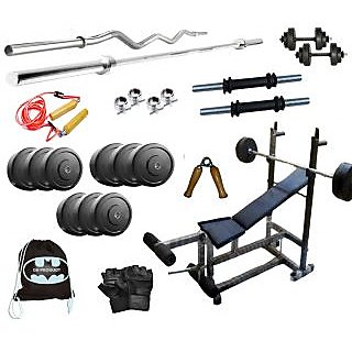 40 Kg GB Weight Lifting Home Gym Set With 6 in 1 Bench Press + 4 Rods + Gloves + Gym Bag
