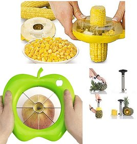 Kudos Easy Corn Cutter + Apple Cutter + Pineapple Cutter - Combo of 3 Easy Kitchen Tools