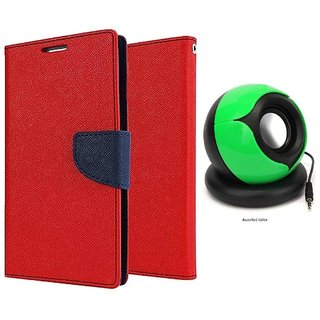Mercury Goospery Wallet Flip Cover For  Micromax Canvas Blaze 4G Q400 (RED) With Pc/mobile SPEAKER