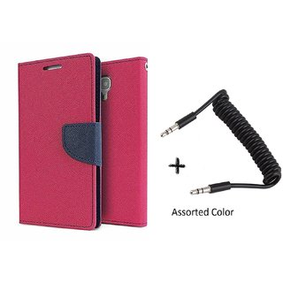 Mercury Goospery Wallet Flip Cover For  Micromax A102 Canvas Doodle 3 (PINK) With AUX SPRING cable