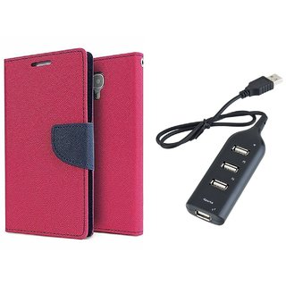 Mercury Goospery Wallet Flip Cover For  Samsung Galaxy E5 (PINK) With Usb hub
