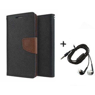 Mercury Goospery Wallet Flip Cover For HTC One M9 (BROWN) With Tarang Earphone