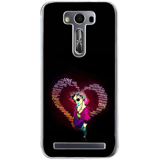ifasho Animated Pattern With Love and heart and Ishq Back Case Cover for Asus Zenfone Go