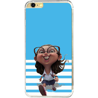 ifasho Cute Girl with Specs running to school cartoon Back Case Cover for Apple Iphone 6