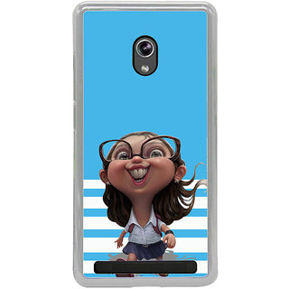 ifasho Cute Girl with Specs running to school cartoon Back Case Cover for Asus Zenfone 6