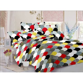 Minu cotton Double Bed Sheets With 2 Pillow Covers   -  Multi-Color