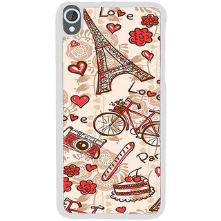 ifasho Modern Art Design Pattern Bicycle camera cake tower Back Case Cover for HTC Desire 820