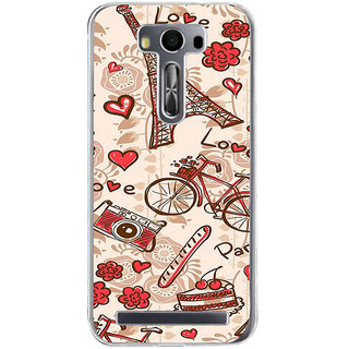 ifasho Modern Art Design Pattern Bicycle camera cake tower Back Case Cover for Asus Zenfone Selfie