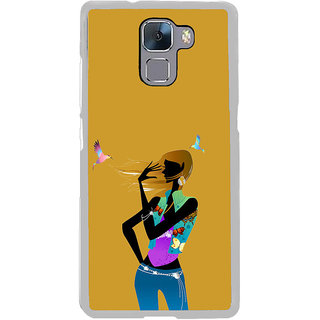 ifasho Girl with Bird Back Case Cover for Honor 7