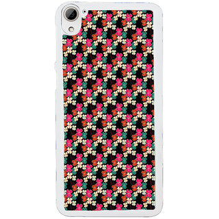 ifasho Animated Pattern design colorful flower in black background Back Case Cover for HTC Desire 826