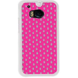 ifasho Animated Pattern design white flower in pink background Back Case Cover for HTC One M8