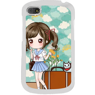 ifasho Cute Girl with bag and Small Cat Back Case Cover for BLACKBERRY Q10