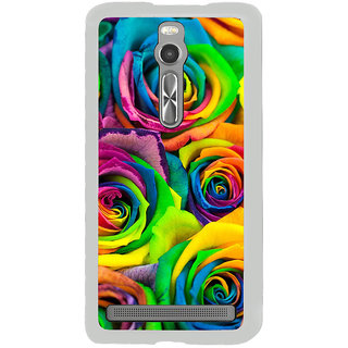ifasho Animated Pattern colorful rose flower Back Case Cover for Asus Zenfone 2