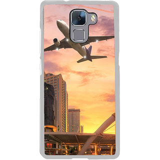 ifasho aeroPlane flying in city Back Case Cover for Honor 7