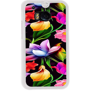 ifasho Animated Pattern colrful design flower with leaves Back Case Cover for HTC One M8
