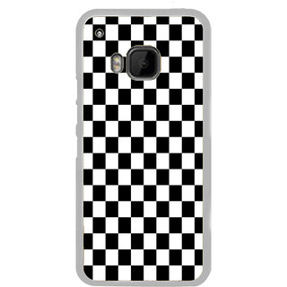 ifasho Squre and Checks In black and white Pattern Back Case Cover for HTC One M9