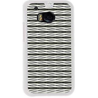 ifasho chevron style and Checks In black and white Pattern Back Case Cover for HTC One M8
