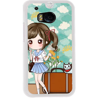 ifasho Cute Girl with bag and Small Cat Back Case Cover for HTC One M8