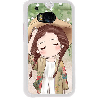 ifasho Lovely Girl with Hat Back Case Cover for HTC One M8