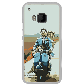 ifasho husband and wife happy drive in scooter Back Case Cover for HTC One M9