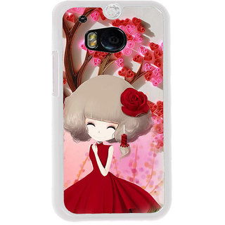 ifasho Girl  with Flower in Hair Back Case Cover for HTC One M8