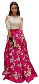 Aracruz White Banglori Silk Thread Embroidered Semi Stitched Dress Material