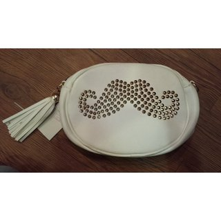 White Leather Designer Handbag
