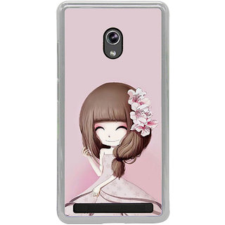 ifasho Cute Girl with Ribbon in Hair Back Case Cover for Asus Zenfone 5
