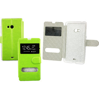 Emartbuy Phone Nokia Lumia 540 Case Wallets/Flips Green Window