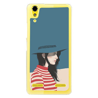 ifasho Girl with Blue Cap and Red strip skirt Back Case Cover for LENOVO A6000