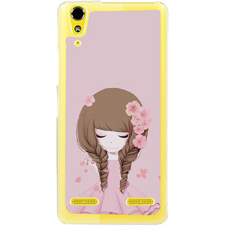 ifasho Girl  with Flower in Hair Back Case Cover for LENOVO A6000 PLUS