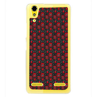ifasho Animated Pattern small red rose flower with black background Back Case Cover for LENOVO A6000