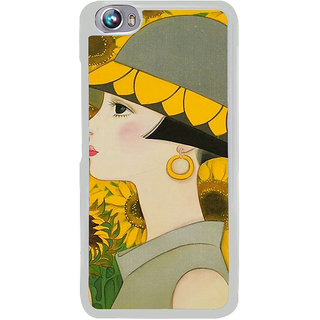 ifasho Painted Girl and flower Back Case Cover for Micromax Canvas Fire4 A107