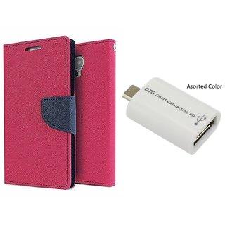 Micromax Unite 3 Q372 Mercury Wallet Flip Cover Case (PINK) With Otg Smart