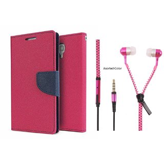 MICROMAX Q338  Mercury Wallet Flip Cover Case (PINK) With Zipper Earphone